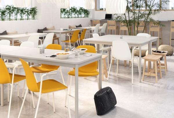 white and yellow chairs