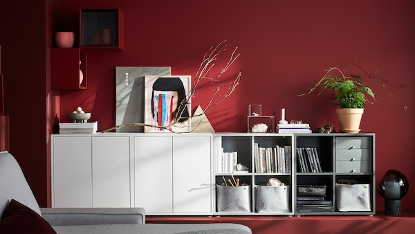 White EKET bookshelves and cabinets.