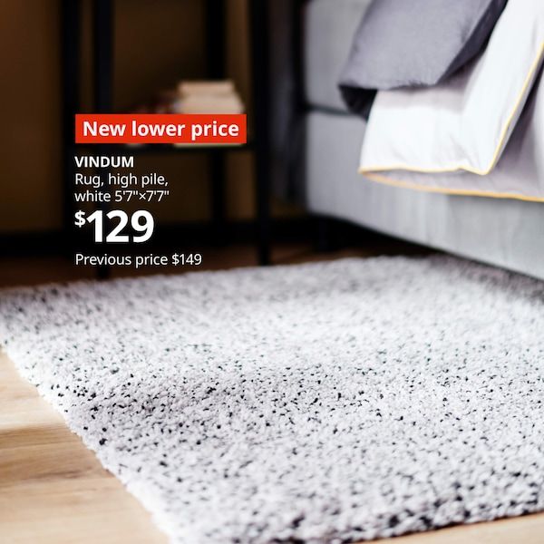 "White high pile VINDUM rug in a bedroom- New lower price, VINDUM Rug, high pile white 5'7""x7'7"" $129. Previous price $149"