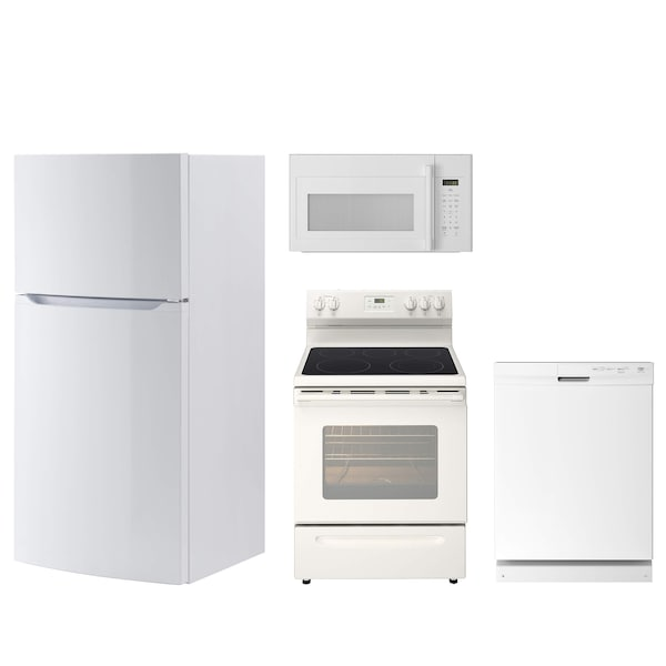 White kithen appliances including a fridge, oven, dishwasher and microwave against a white background.