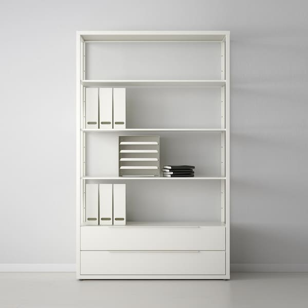 White metal shelving unit with drawers
