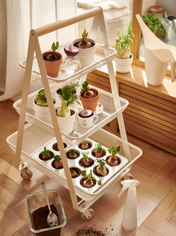 White trolley on castors with three trays of flowerpots and baking tray with vegetables, watering can and spray bottle.