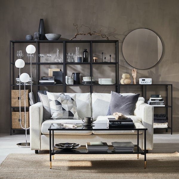White VIMLE sofa in the center of a living room.