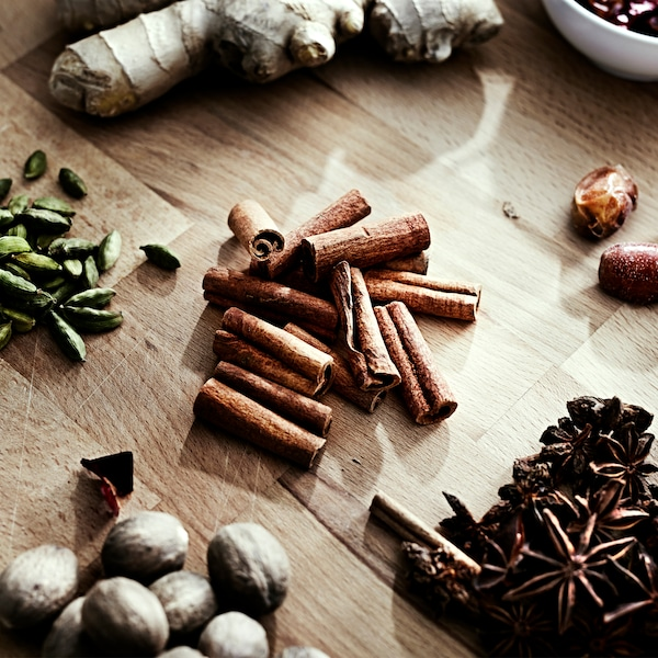 Whole spices like nutmeg, cardamom and cinnamon keep their freshness (and flavour) longer than ground up spices.