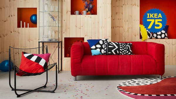 Why not update your KLIPPAN sofa in a bright yellow, fiery red or a cool cobalt blue cover? 70's and 80's edition of GRATULERA vintage collection, celebrating IKEA 75 years.