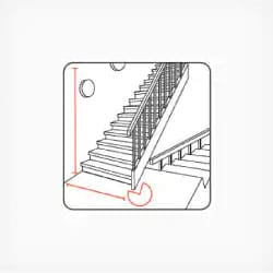 Width and height of stairs and landing