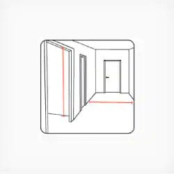 Width and height of the corridor and whether the corridor turns or not