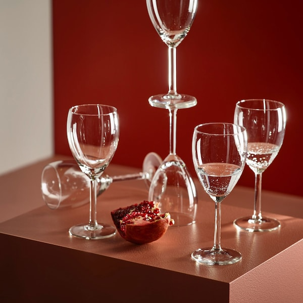 Wine glasses sitting on brown box