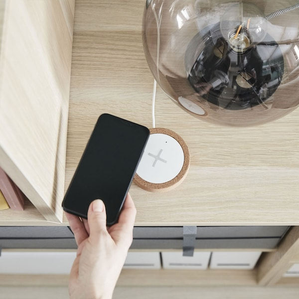 Wireless charger, white, cork