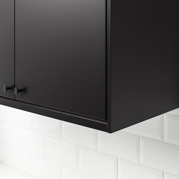 wiszące czarne szafki w kuchni