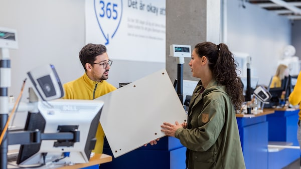 Women making a return in a IKEA store