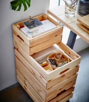 Wooden crate boxes of different sizes stacked