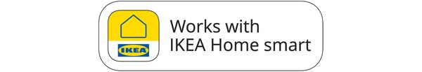 Works with IKEA Home smart badge including the IKEA Home smart logo.