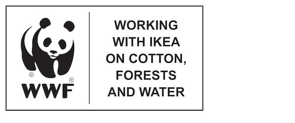 World Wildlife Fund, arbeitet gemeinsam mit IKEA zu Baumwolle, Forsten und Wasser, Logo.