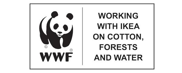 World Wildlife Fund, arbeitet mit IKEA an Baumwolle, Forstwirtschaft und Wasser, Logo.