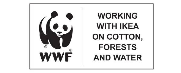 World Wildlife Fund erakundearen logotipoa, IKEA-rekin lanean kotoiaren, basoen eta uraren alde.