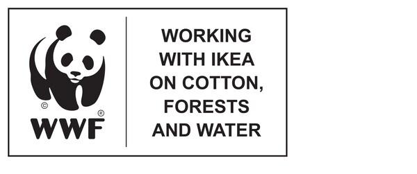 World Wildlife Fund trabaja con IKEA en las iniciativas relacionadas con el algodón, los bosques y el agua, logotipo.
