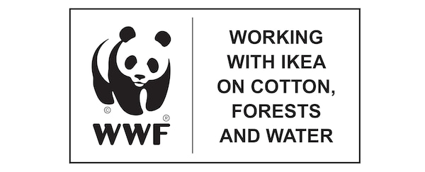 World Wildlife Fund, working with IKEA on cotton, forests and water, logo.