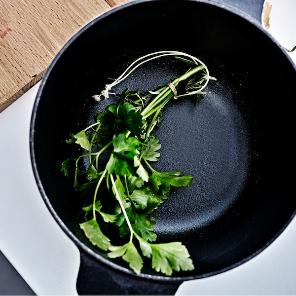 Wrap aromatic herbs like parsley, rosemary and thyme with some cooking string and toss in in a pot when making soups, stews and curries.