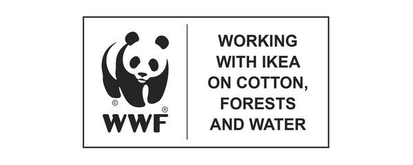 WWF (World Wildlife Fund) samarbejder med IKEA om bomuld, skove og vand. Logo.