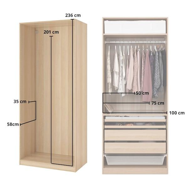 wykres pokazujący wymiary szafy PAX
