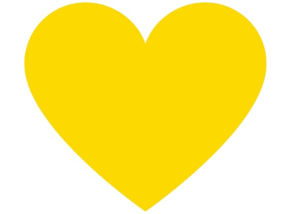Yellow heart on a white background.