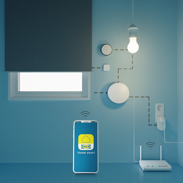Yleiskuva IKEA Home Smart-sovelluksesta ja siihen liitetystä TRÅDFRI-gateway-tukiasemasta ja älyvalaisimista.