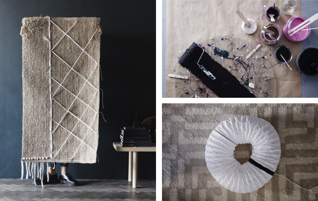 You can decorate IKEA furniture with easy DIY ideas like this flatwoven, jute LOHALS rug. Just tie on and thread in some pieces of yarn or fabric scraps to make it uniquely yours.