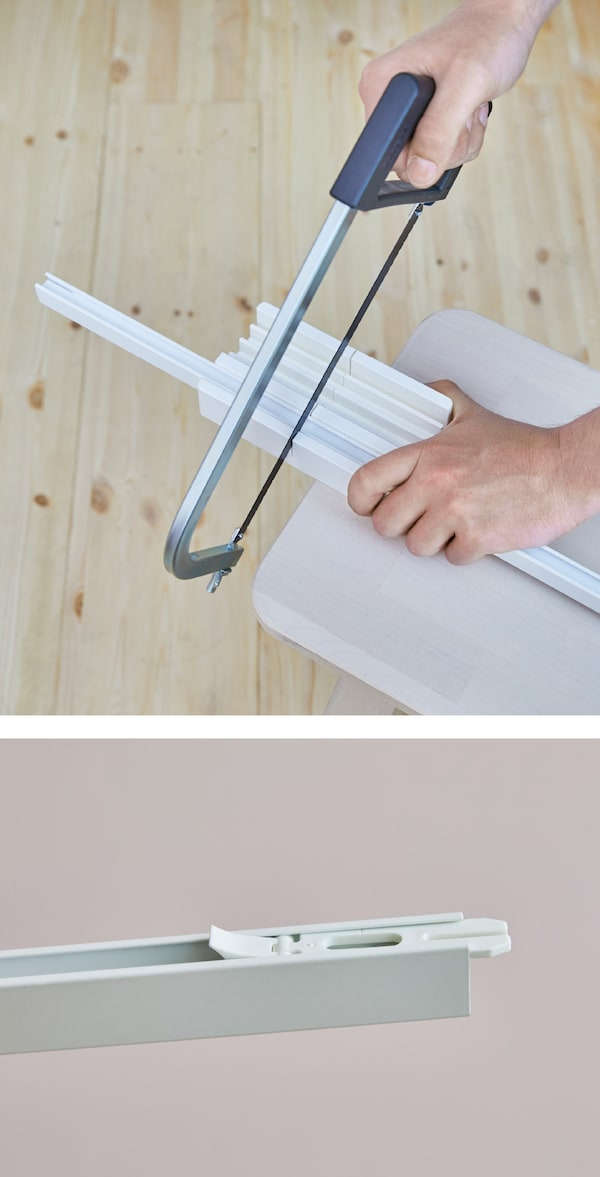 You can make ceiling curtains with the VIDGA track system from IKEA. Each rail piece is 55 inches long. To extend the pieces or fit your space, you may need to cut the rails with VIDGA cutting box in white. Place the rail into the box and use a hacksaw.
