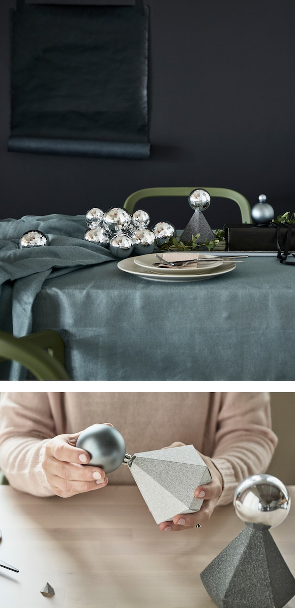 You can repurpose christmas ornaments and gift boxes like silver and grey VINTER 2017 gift boxes from IKEA. Just cut holes in the tops of the jewel-shaped paper boxes. Then place a matching grey or silver ornament in each one. Glue if you need to.
