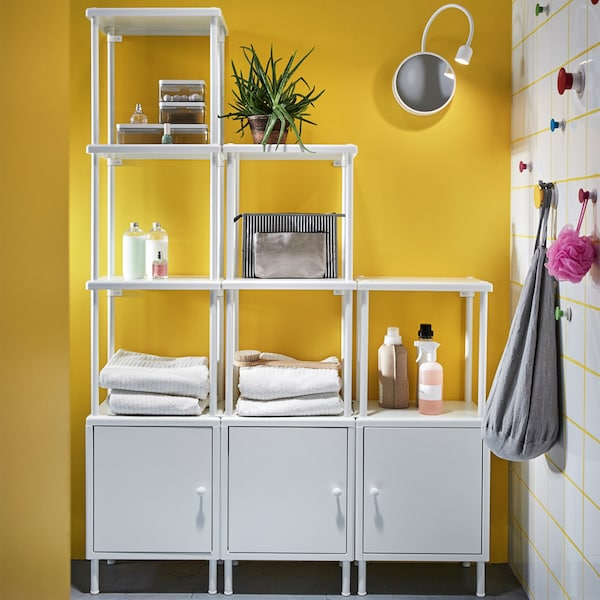 You combine all the parts of our DYNAN bathroom series how you like to create open storage that fits your space and all your stuff