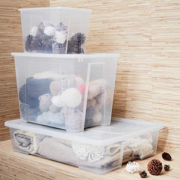 YOUR LAST XMAS PRESENT! Get all your holiday décor and seasonal accessories safely packed away with our SAMLA range of lidded boxes to suit everything from baubles to ski boots.