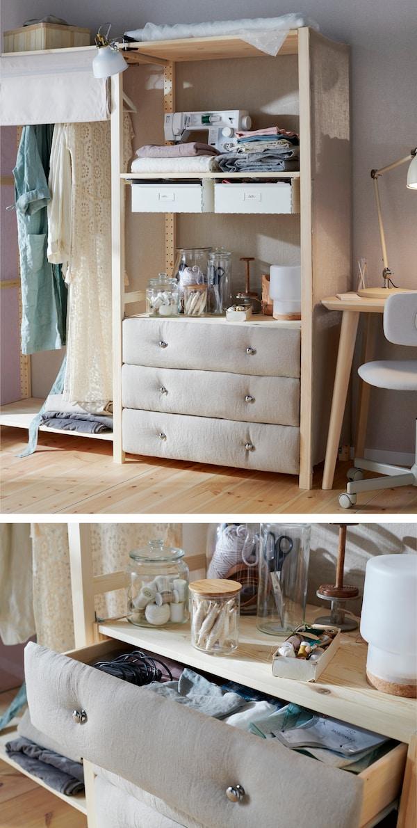 Za prijatniju atmosferu, tkaninom ukrasi klasičnu komodu s fiokama od punog drveta. Isprobaj IKEA IVAR komodu s 3 fioke od prirodne borovine!