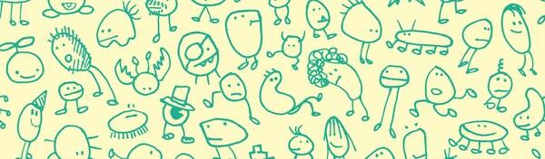 Zabawne zielone rysunki dziecięce przedstawiające wymyślone stwory na żółtym tle.