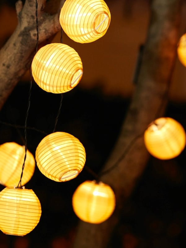 Zapalona girlanda LED SOLVINDEN zawieszona na drzewie.