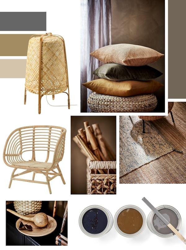 Zbierka návrhov na inšpiratívnej nástenke vrátane stolovej lampy, kresla a vankúšov vyrobených alebo farebne podobných prírodným materiálom.