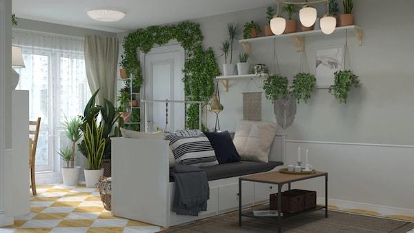Зеленая гостиная белого цвета 1