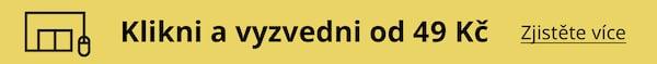 "Žlutý banner s textem ""Klikni a vyzvedni od 49 Kč""."