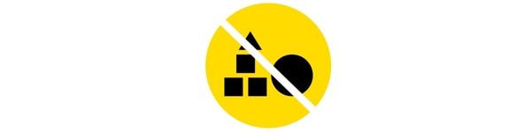 żółta ikona z przekreślonymi zabawkami