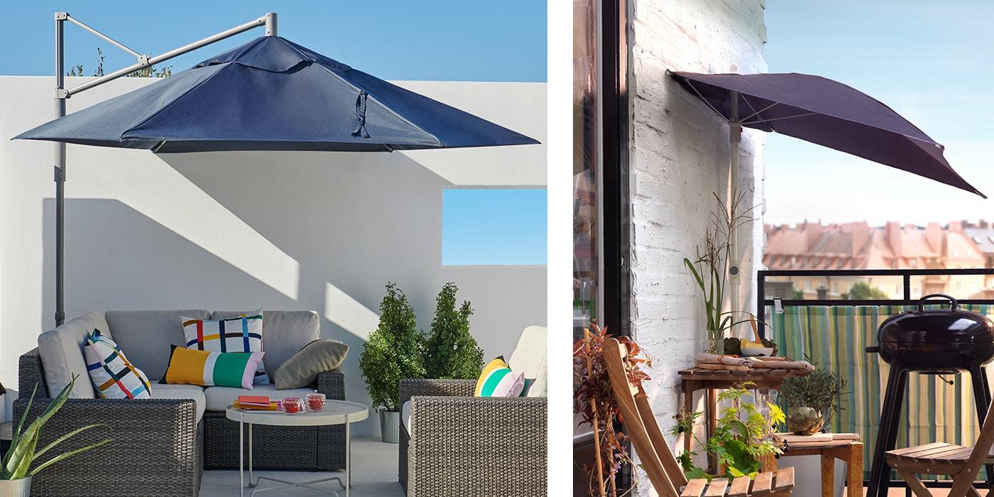 Zwei verschieden Varianten von Sonnenschirmen, ein Hängesonnenschirm und ein einseitig ausklappbarer Sonnenschirm für den Balkon