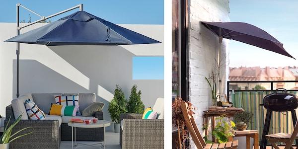 Zwei verschiedene Varianten von Sonnenschirmen