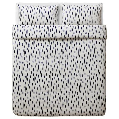 ÄNGLATÅRAR Duvet cover and 2 pillowcases, white/blue, 240x220/50x80 cm