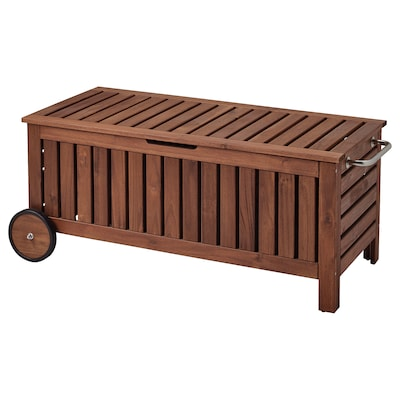 ÄPPLARÖ Storage bench, outdoor, brown stained, 128x57 cm