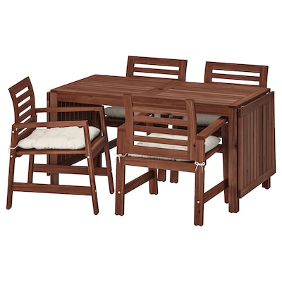 ÄPPLARÖ Table+4 chairs w armrests, outdoor, brown stained/Kuddarna beige