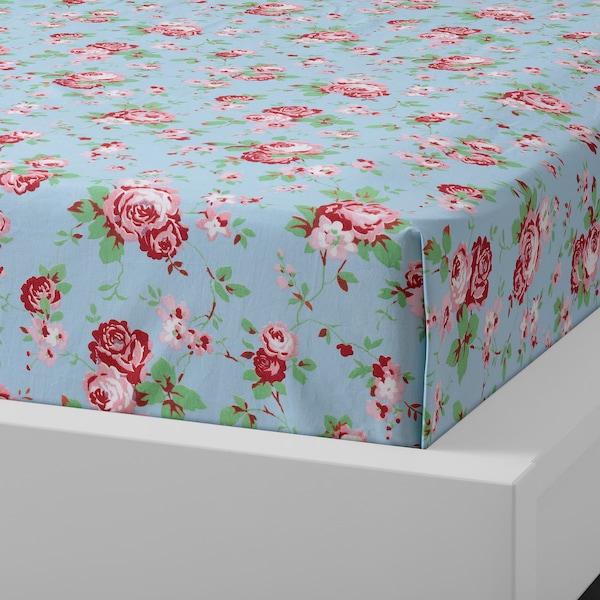 ÄRTCYPRESS Flat sheet and 2 pillowcase, turquoise, 240x260/50x80 cm