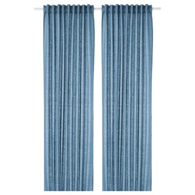 AINA Curtains, 1 pair, blue, 145x300 cm