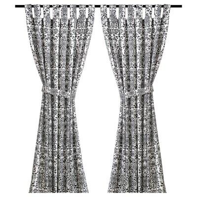 ÅKERKULLA Curtains with tie-backs, 1 pair, grey/white, 145x300 cm