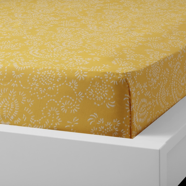 ÅKERTISTEL Flat sheet and 2 pillowcase, yellow, 240x260/50x80 cm