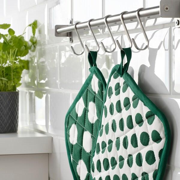 ALVALISA pot holder green/white 23 cm 23 cm 2 pack