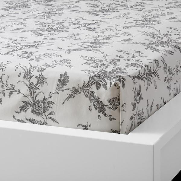 ALVINE KVIST flat sheet and 2 pillowcase white/grey 200 /inch² 2 pack 50 cm 80 cm 240 cm 260 cm